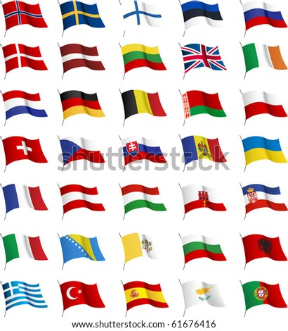 All European flags. Raster version of vector illustration.