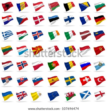 all european flags set icons with shadows on white