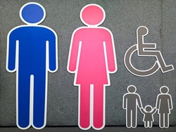 All gender restroom sign. Toilet line icon, linear style vector pictogram. WC gender symbol.