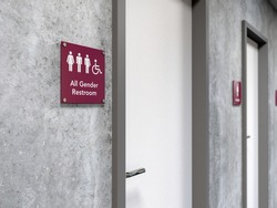 All-gender restroom signage next to a restroom door showing icons of man, woman, transgender and wheelchair user