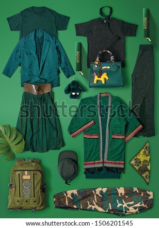All green color group to t-shirt . Hat . bag . Glasses . long pants . pants . vest . and sandals in green color background  #1506201545