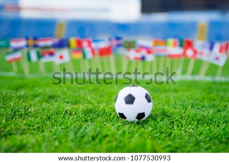 All nations flag on football green grass. Football net and blue sky in background. #1077530993