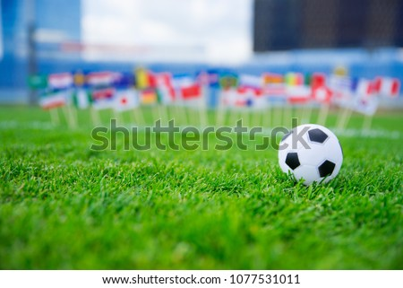 All nations flag on football green grass. Football net and blue sky in background.