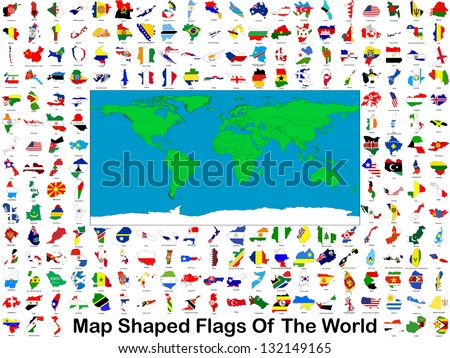 All of the worlds flags in the shape of their respective countries or states together on one poster image.
