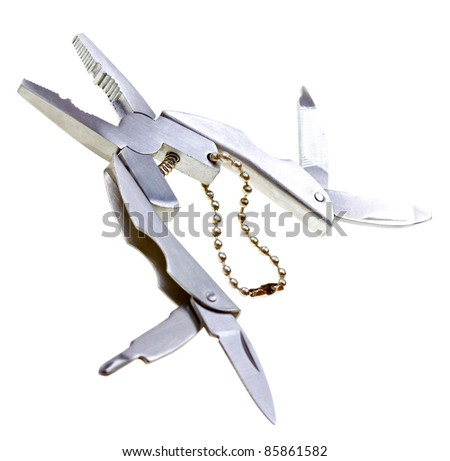 All-purpose swiss knife fully opened on white background