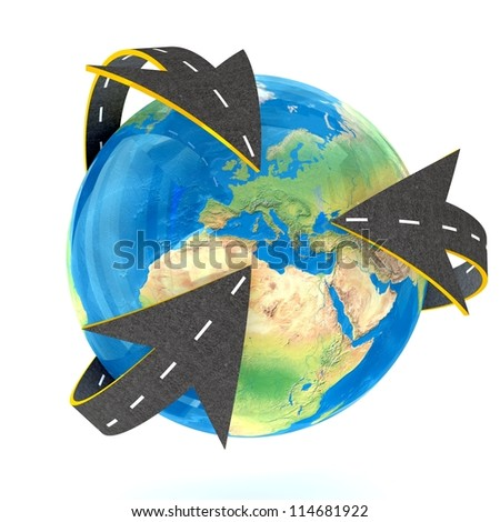 All Roads into Europe on white background. Isolated 3D image