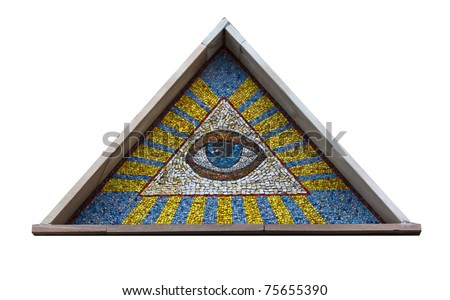 All-seeing eye - a mosaic of smalt isolated on a white background
