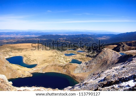 all seven rila lakes in bulgaria panoramic view