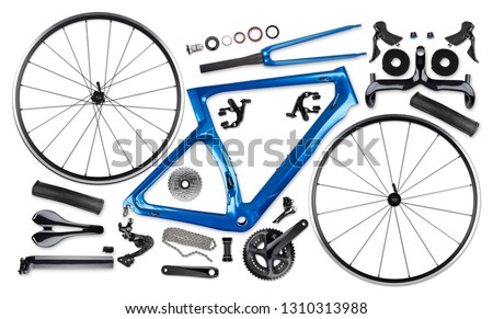 Photo of  all single parts components of blue black modern aerodynmic carbon fiber racing sport road bike bicycle racer isolated on white background