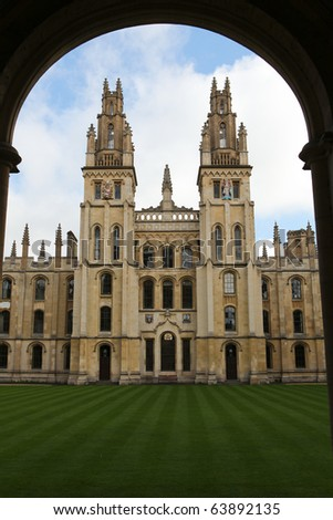 All Souls College, famous University College in Oxford, Oxfordshire, England