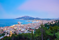 All the beauty of the famous city of Zakynthos, seen from Bocali Castle. Holiday concept -  Zakynthos island, Greece.
