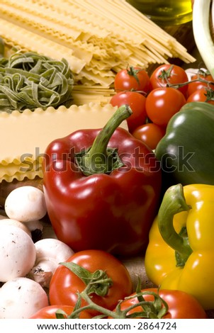 All the fixings for great Italian pasta. Lots of fresh vegetables and spices straight from the garden.