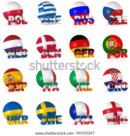 All the participating teams of Europe's biggest soccer competition. Easy to edit and use.