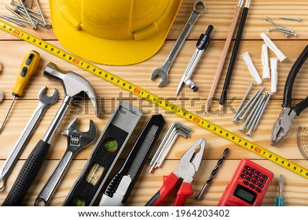 All tools supplies home construction on the wooden table background. Building tool repair equipments. Foto stock ©