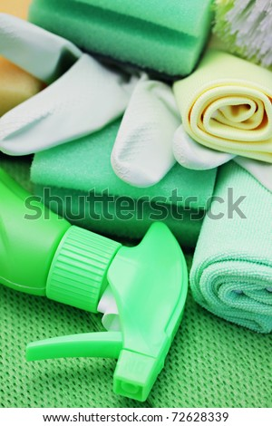 stock photo   all you need to clean house   close ups of cleaning supplies