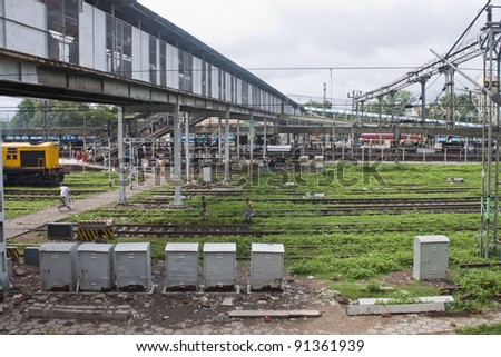 ALLAHABAD, INDIA - AUGUST 10: Railway station on August 10, 2011 in Allahabad, India. Indian Railways has over 7,500 stations in its network and transport 20 million passengers daily. - stock photo
