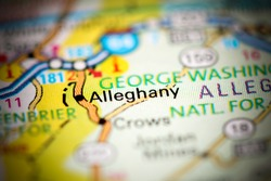 Alleghany. Virginia. USA on a geography map