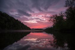 Allegheny River sunset after a summer storm in Warren, Pennsylvania.