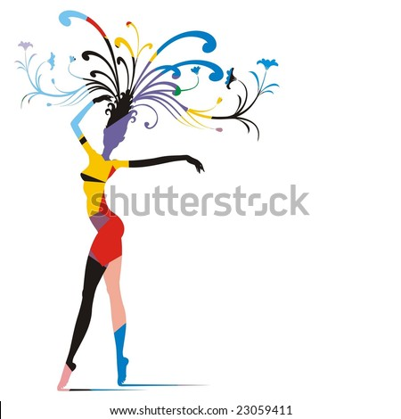 Allegoric silhouette of a graceful dancer with branches of flowers on head, colored in a patchwork aleatory pattern.