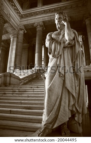 Allegorical representation of justice (Palais de Justice, national courtroom in Brussels, Belgium)