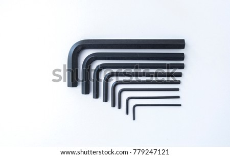 Allen key or Allen wrench key set isolated on white background