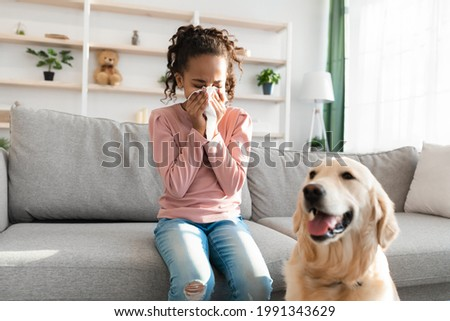 Allergic Reaction To Fur. Sick black girl sneezing and sniffle holding paper tissue. Ill kid having rhinitis suffering from running nose caused by her pet dog, sitting on sofa at home, free space Stock photo ©