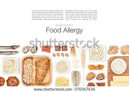 allergy food on white background