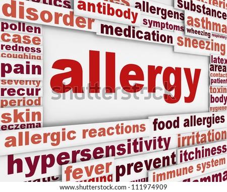 Allergy message background. Hypersensitivity poster conceptual design