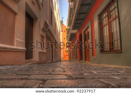 Alley in the old city of San Juan, Puerto Rico.