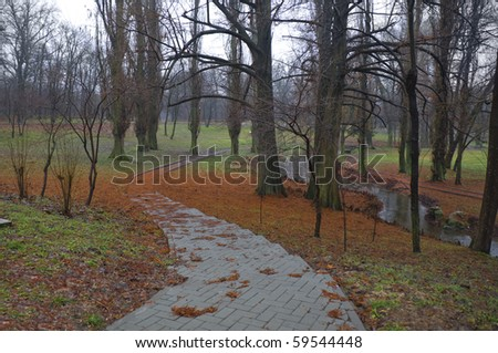 Alley in the park in late autumn (end November)