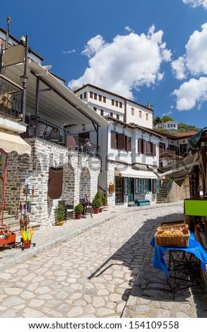 Alley in the picturesque village of Makrinitsa, Pelion, Greece