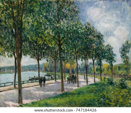 Alley of Chestnut Trees, by Alfred Sisley, 1878, French impressionist painting, oil on canvas. In Sevres, Sisley painted this view of a curved roadway along the Seine River lined with chestnut trees