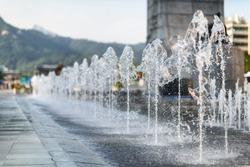 Alley of fountains. Seoul city, South Korea