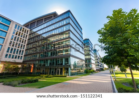 Alley with office buildings in modern Budapest area - Shutterstock ID 151122341