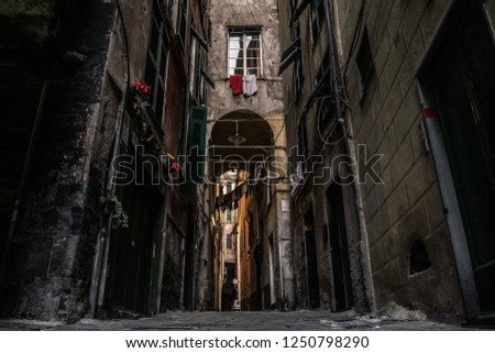 Alleyway in Genoa, little street in one of the biggest old town of the Europe
