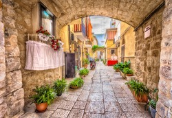 Alleyway in old white town Bari, Puglia, South Italy