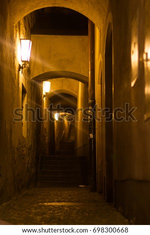 Alleyway in Steyr, in Austria at night