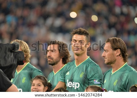 ALLIANZ STADIUM, TURIN, ITALY -22 May 2019 : Cristiano Ronaldo from 'Campioni Per La Ricerca' seen during the 'Partita Del Cuore' Charity Match at Allianz Stadium #1462074284