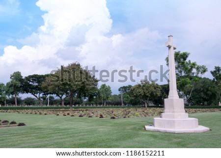 Allied War Cemetery honored Kanchanaburi Thailand. #1186152211