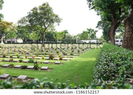 Allied War Cemetery honored Kanchanaburi Thailand. #1186152217