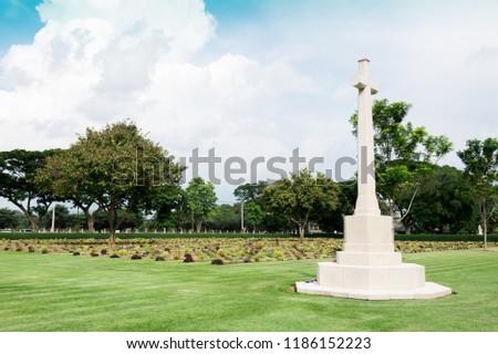Allied War Cemetery honored Kanchanaburi Thailand. #1186152223