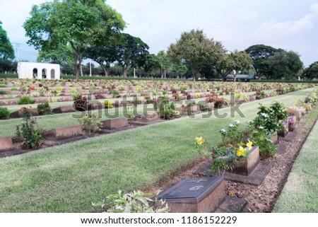Allied War Cemetery honored Kanchanaburi Thailand. #1186152229