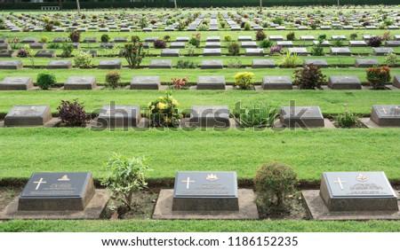 Allied War Cemetery honored Kanchanaburi Thailand. #1186152235