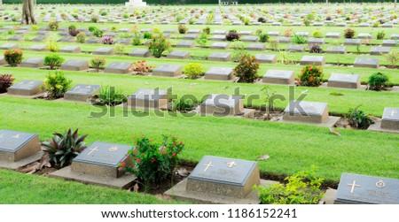 Allied War Cemetery honored Kanchanaburi Thailand. #1186152241