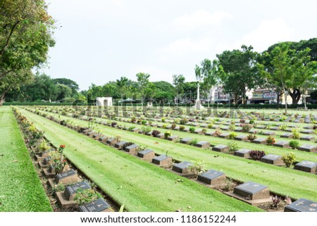 Allied War Cemetery honored Kanchanaburi Thailand. #1186152244