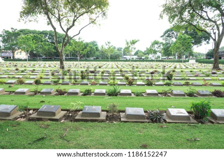 Allied War Cemetery honored Kanchanaburi Thailand. #1186152247