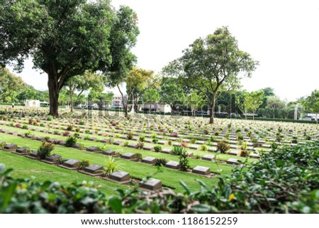 Allied War Cemetery honored Kanchanaburi Thailand. #1186152259