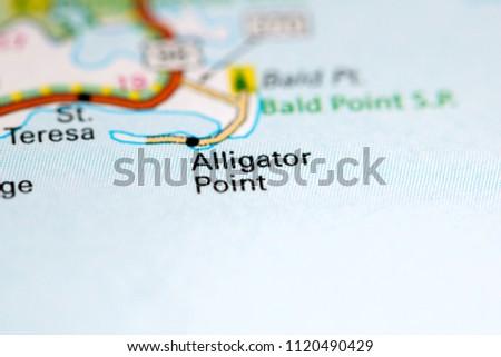 Alligator Point Florida Map.Shutterstock Puzzlepix