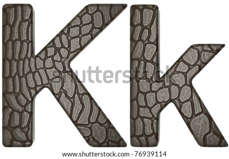 Alligator skin font K lowercase and capital letters isolated on white