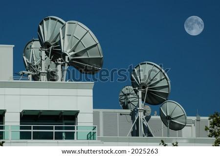 Allineamento dei telescopi del piatto da frequenzaradiofonic a - stock photo